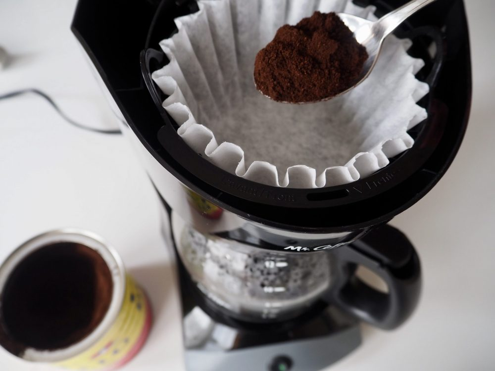 Set up filter and add coffee