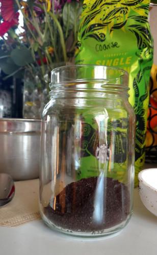 ground coffee on the jar