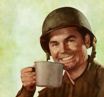 a soldier drinking coffee