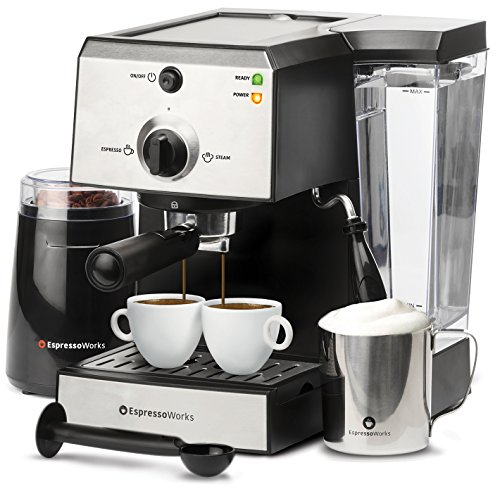 EspressoWorks 7 Pc All-In-One Espresso Machine & Barista Bundle Set