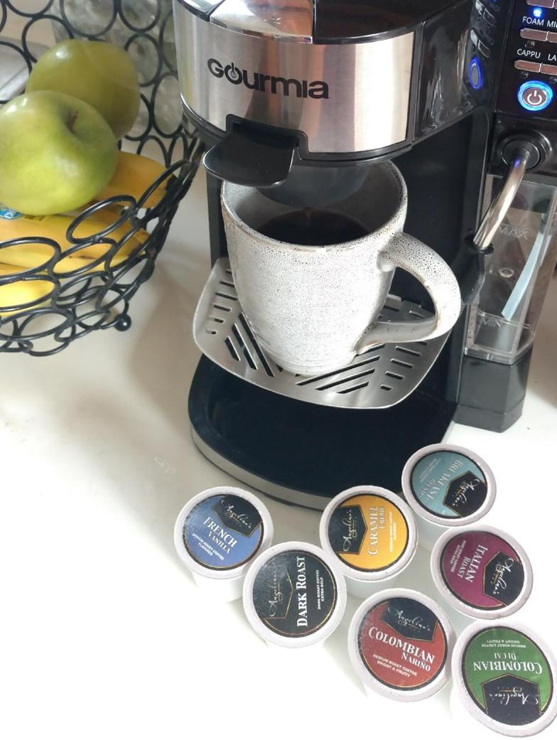 Angelino's Pod Coffee on coffee maker