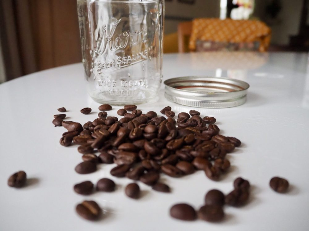 Mason jar and coffee beans