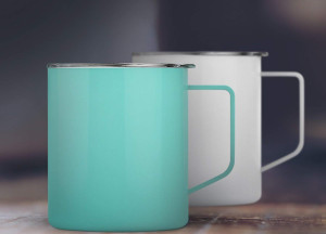 a thermal coffee mug