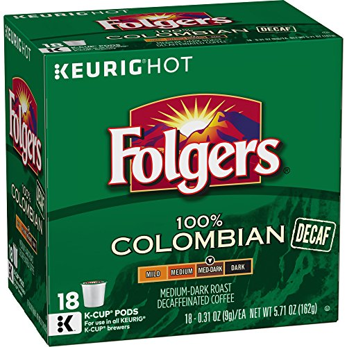 Folgers Decaf 100% Colombian Medium-Dark Roast K Cup Pods
