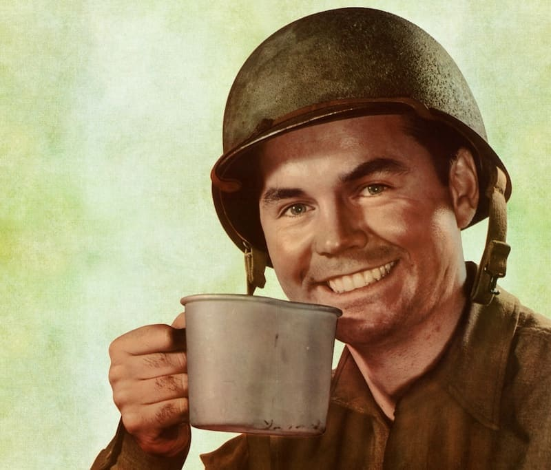 Soldier with coffee vintage