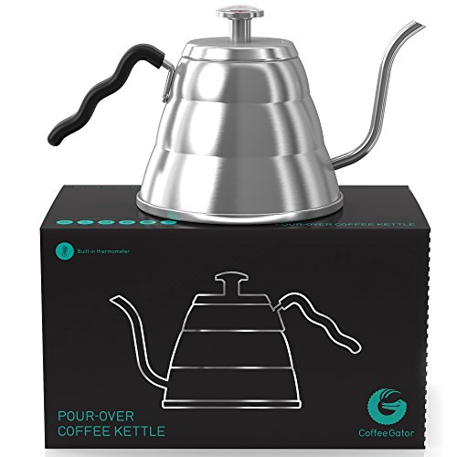 Coffee Gator Pour Over Kettle - Gooseneck Spout and Thermometer