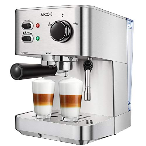 AICOK Espresso Machine, Cappuccino Coffee Maker with Milk Steamer