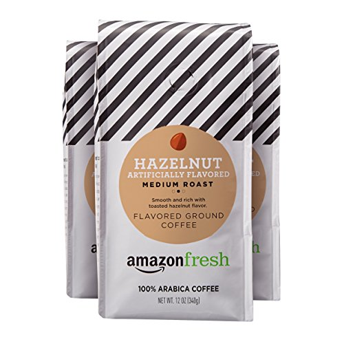 AmazonFresh Hazelnut Flavored Coffee, Ground, Medium Roast, 12 Ounce