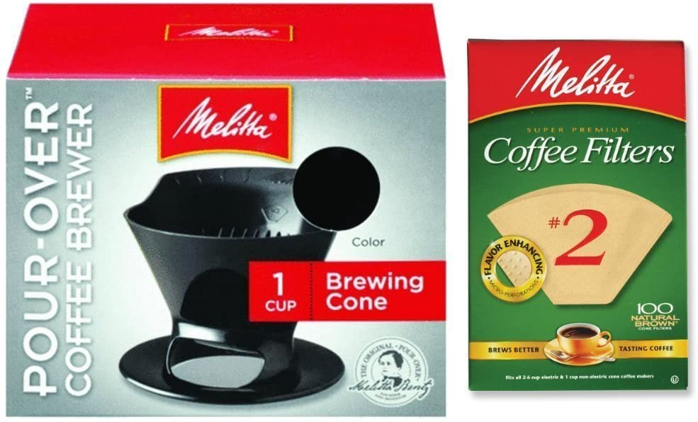 Melitta pour over coffee cone and filters