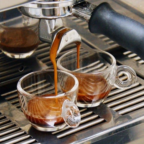 an espresso-machine in action