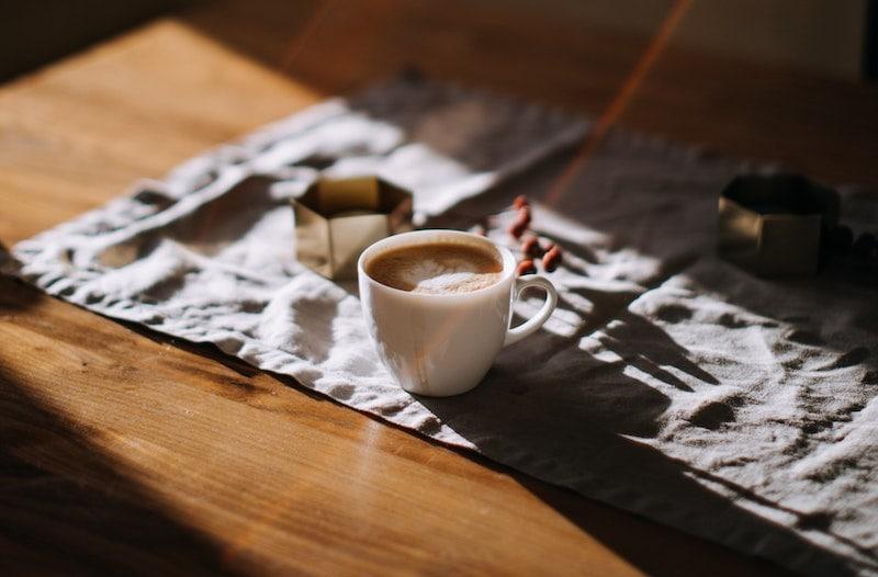 coffee in sunlight
