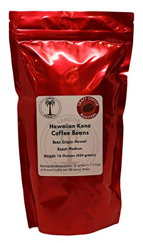 Hawaiian Kona Coffee - 1 Pound - Medium Roast - Whole Bean