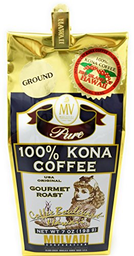 Kona Coffee, 100% Pure, Ground, Gourmet Roast 7 Ounce Bag by Mulvadi Corporation