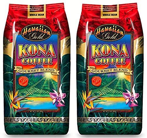 Hawaiian Gold Kona Medium Roast Gourmet Blend Whole Bean Coffee - 2 Lbs Bag