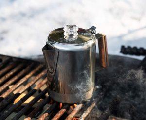 A camping coffee percolator