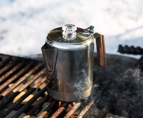 A stovetop coffee percolator