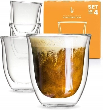Kitchables Glass Cappuccino Cups Double Walled