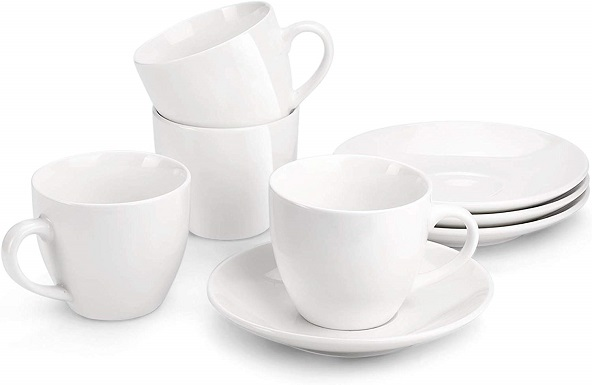 MIWARE Porcelain Cappuccino Cups with Saucers (set of 4)