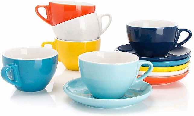 Sweese Porcelain Latte & Cappuccino Cups with Saucers (set of 6)