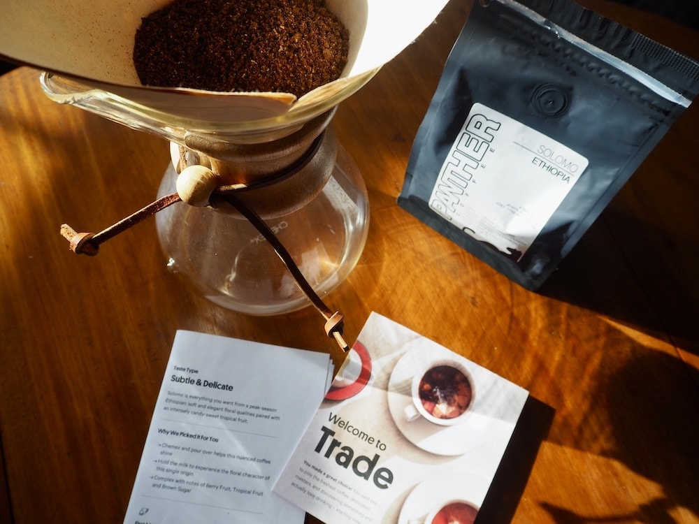 Trade Coffee subscription ready to brew Chemex