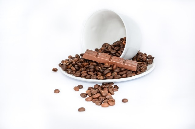 coffee beans with chocolate
