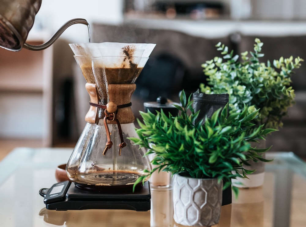 coffee scale with Chemex brewing