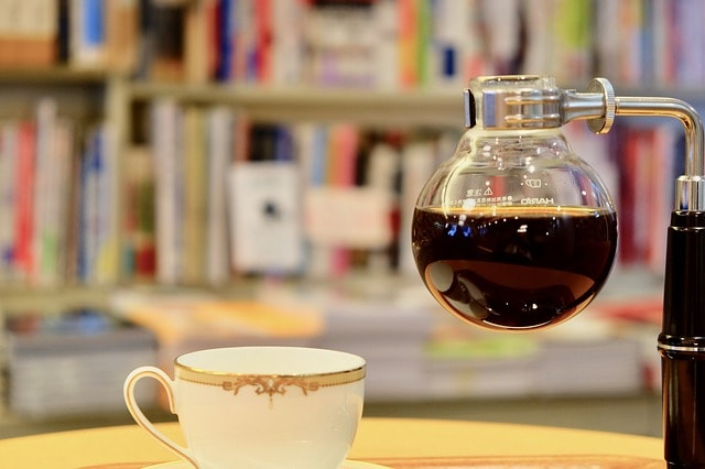 siphon coffee with books