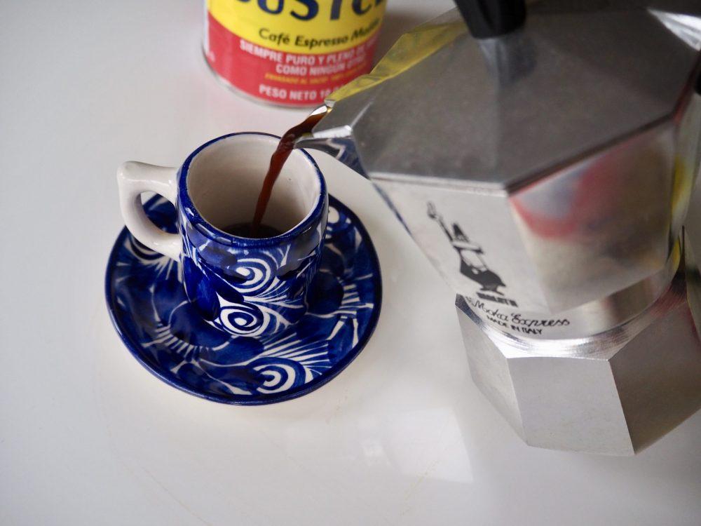 Pour espresso into cup