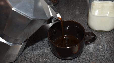 Pouring Coffee Moka Pot