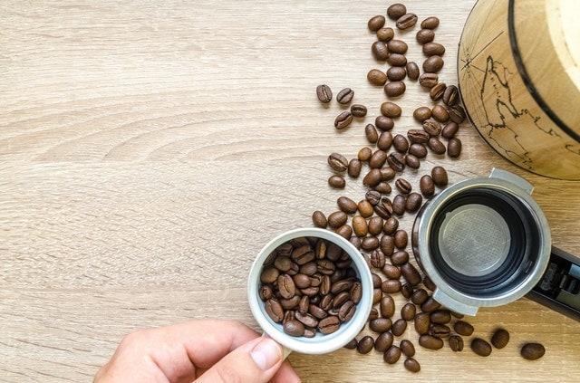 coffee beans on a flatlay