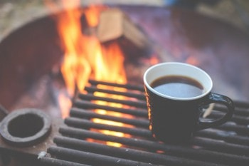 Camping with coffee