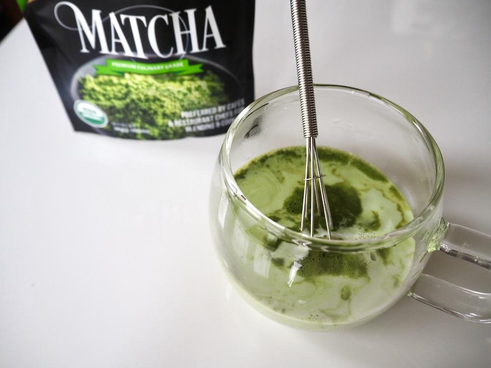 Mix matcha powder and milk latte