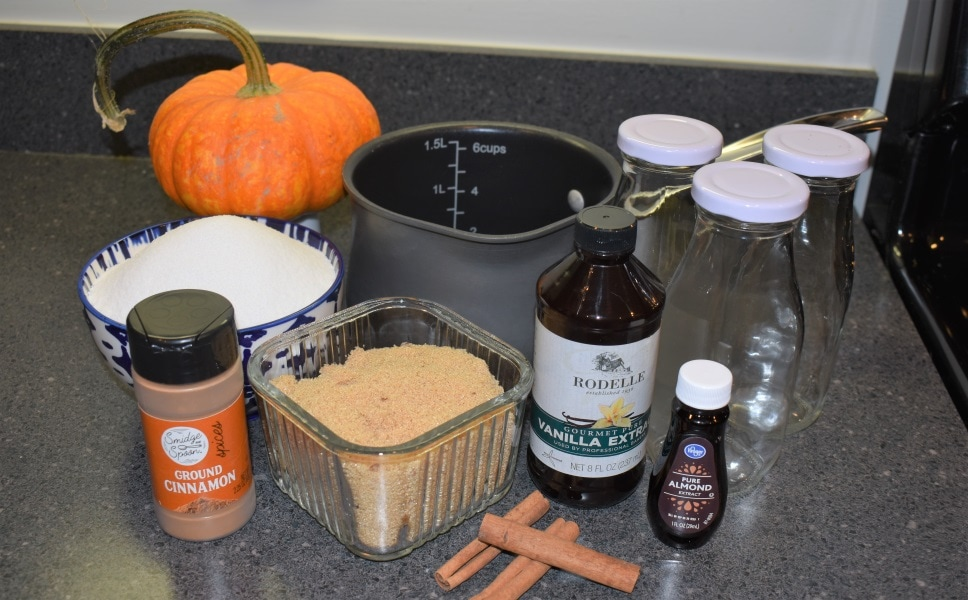 All ingredients needed to make homemade coffee syrups