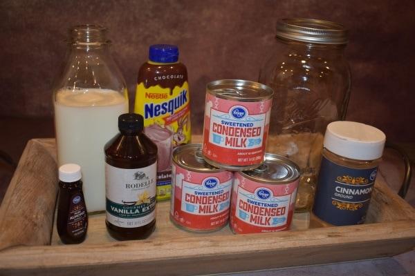 Items used to make coffee creamer