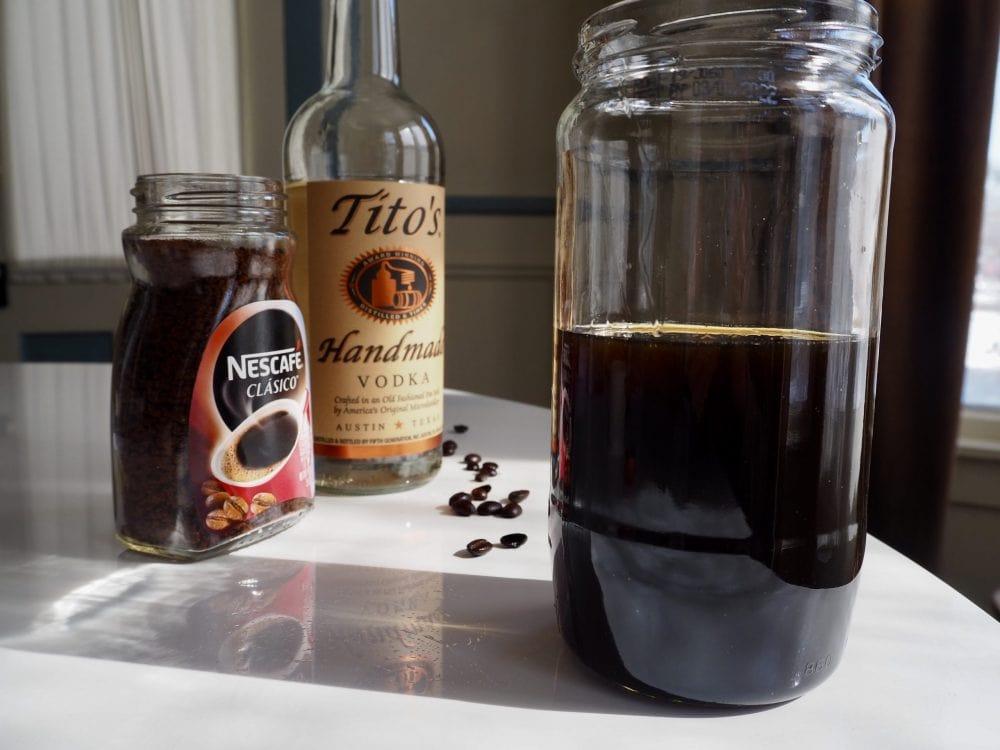 Coffee liqueur stored