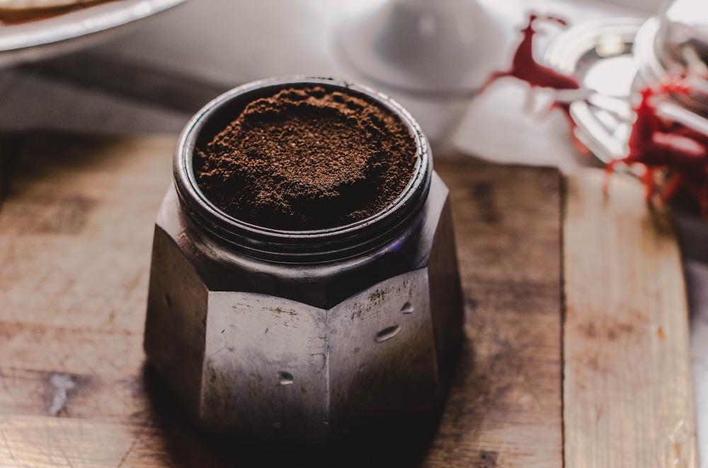 Ground coffee in Moka pot