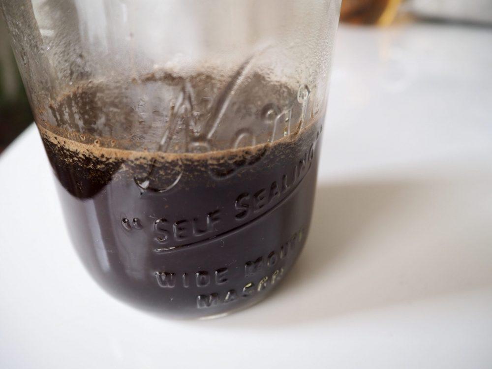Hot coffee in a Mason jar