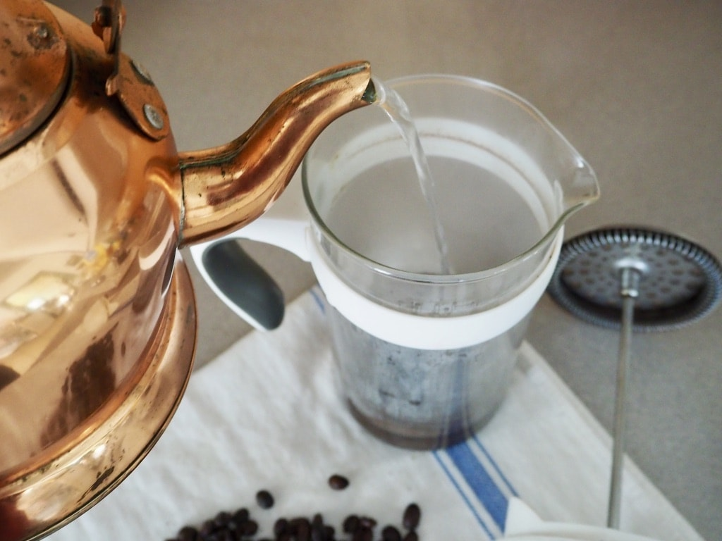 Pour water into French press