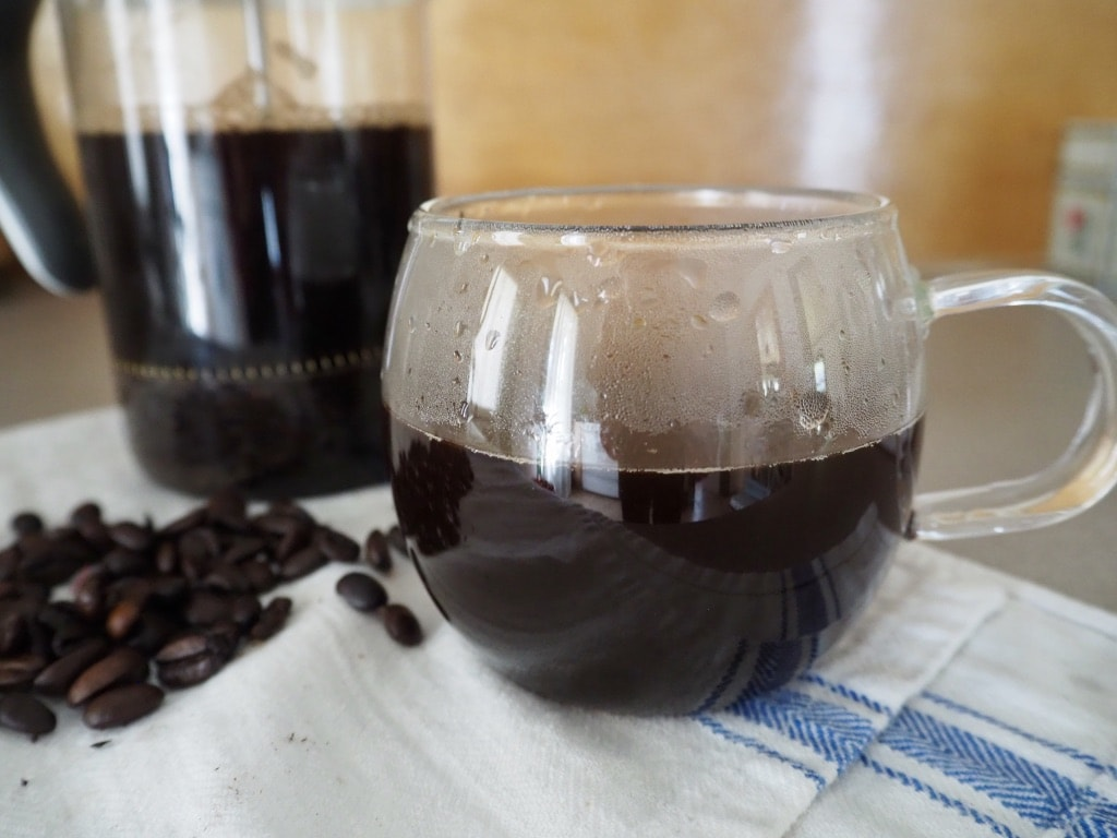 delicious French press brewed coffee