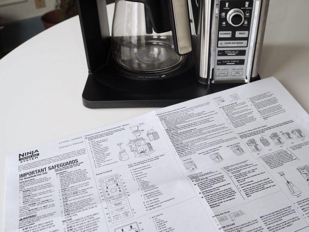 Ninja Coffee Bar user guide warranty