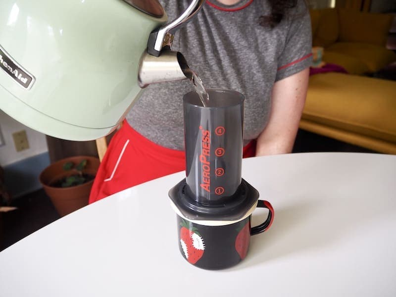 Add water to AeroPress