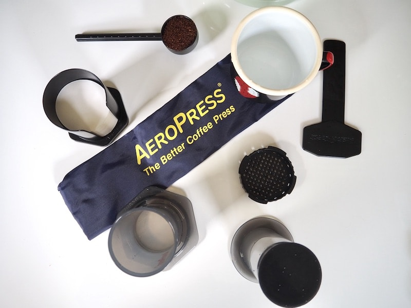 AeroPress coffee brewing setup