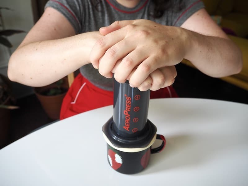 Push plunger down AeroPress