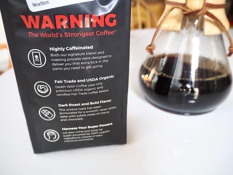 Death Wish Coffee warning label caffeine