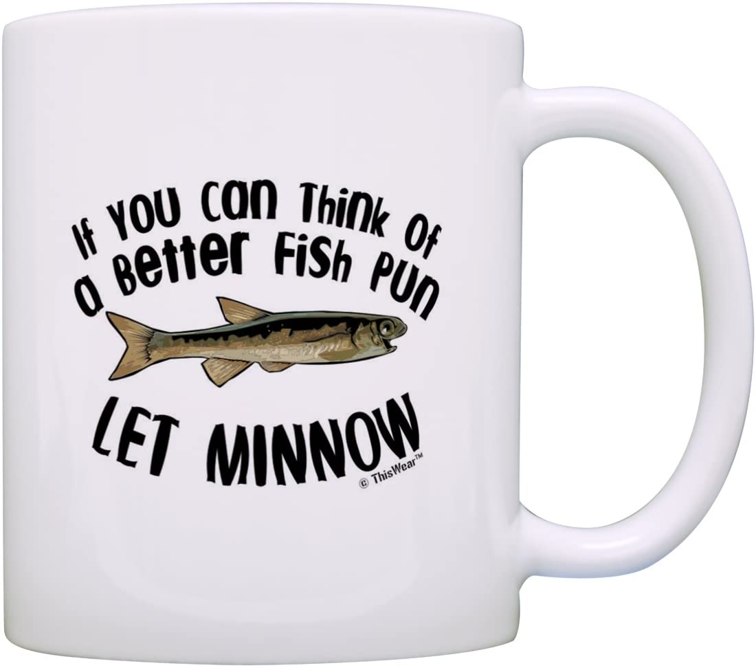 Let Minnow coffee mug pun