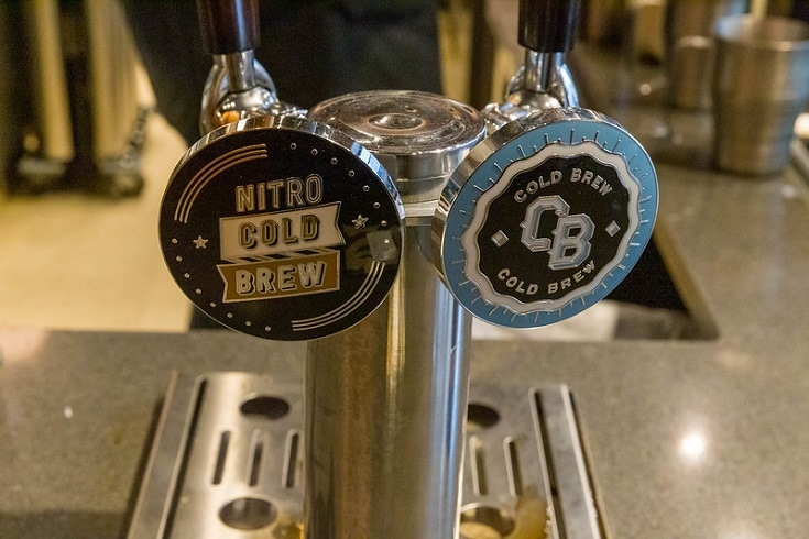 Nitro cold brew and Cold brew coffee served on tap