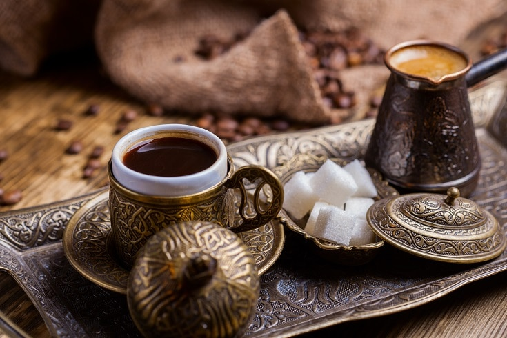 Turkish Coffee with sugar cubes