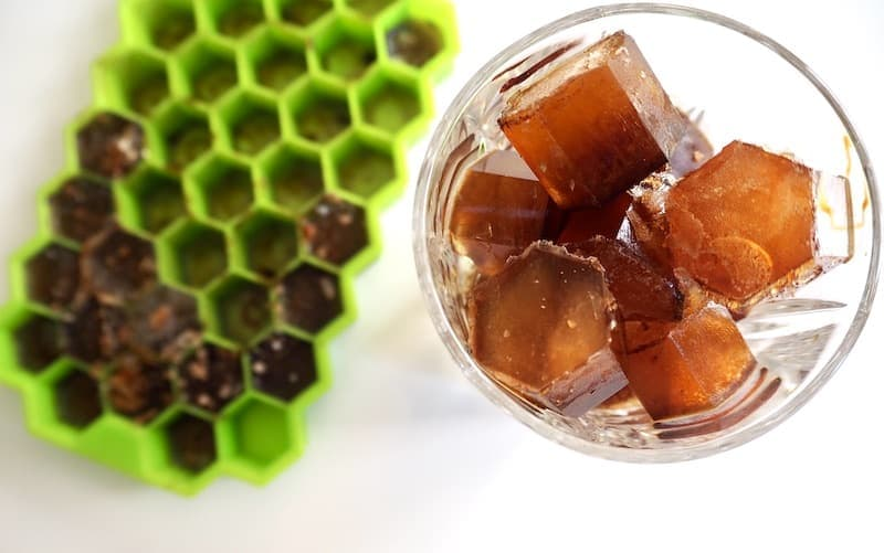 coffee ice cubes in a glass