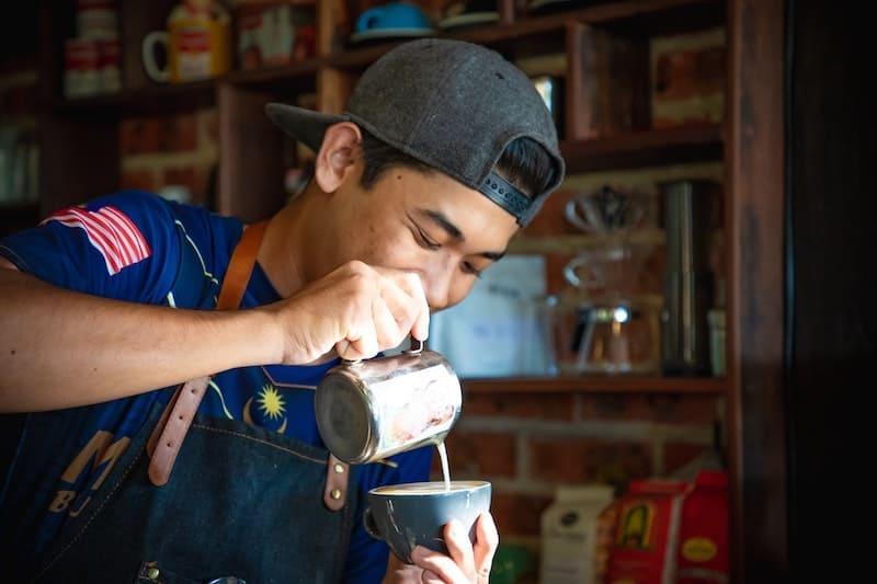 coffee latte art smiling