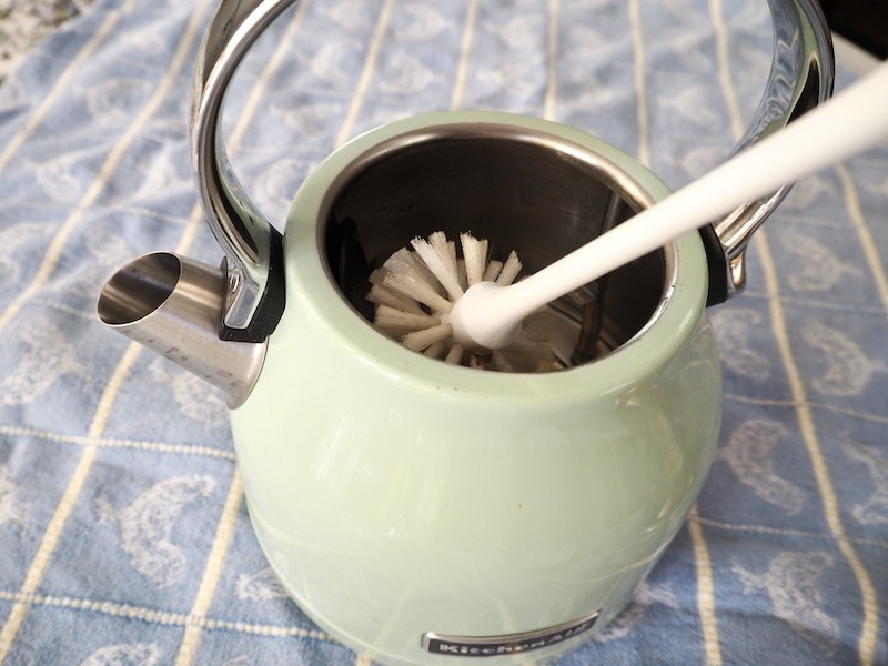 clean electric kettle with bottle brush